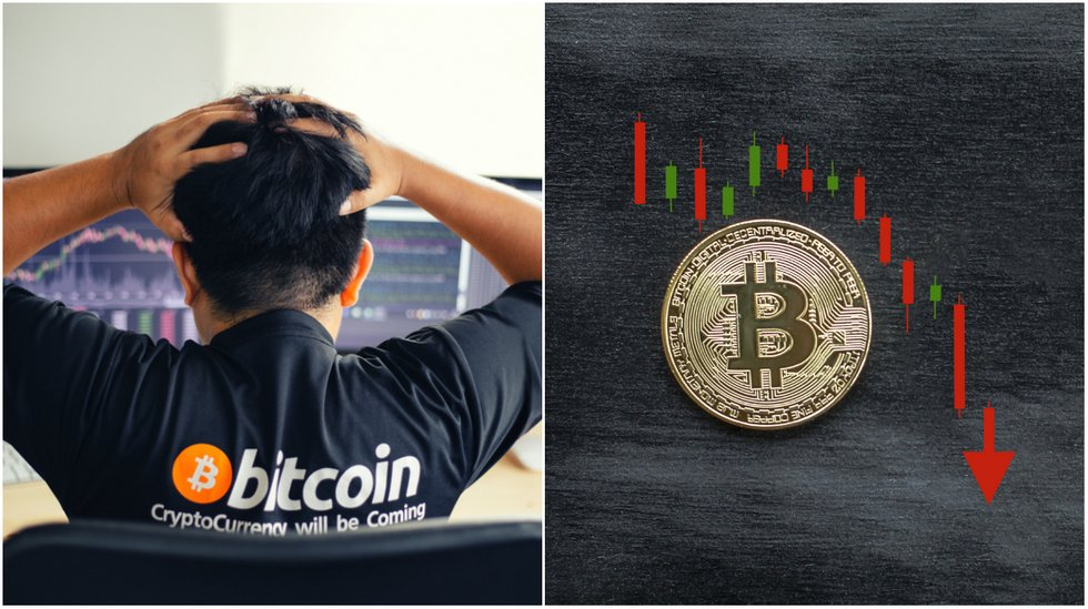 Bitcoin price falls almost 500 dollars in the course of an hour.