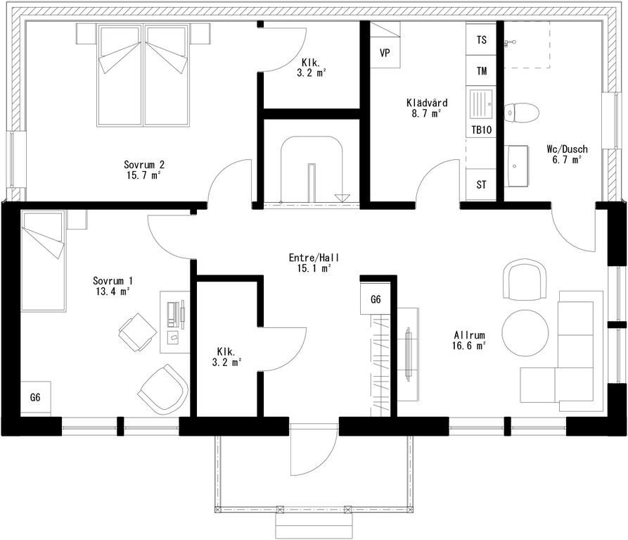 Planritning för Villa Lövskär