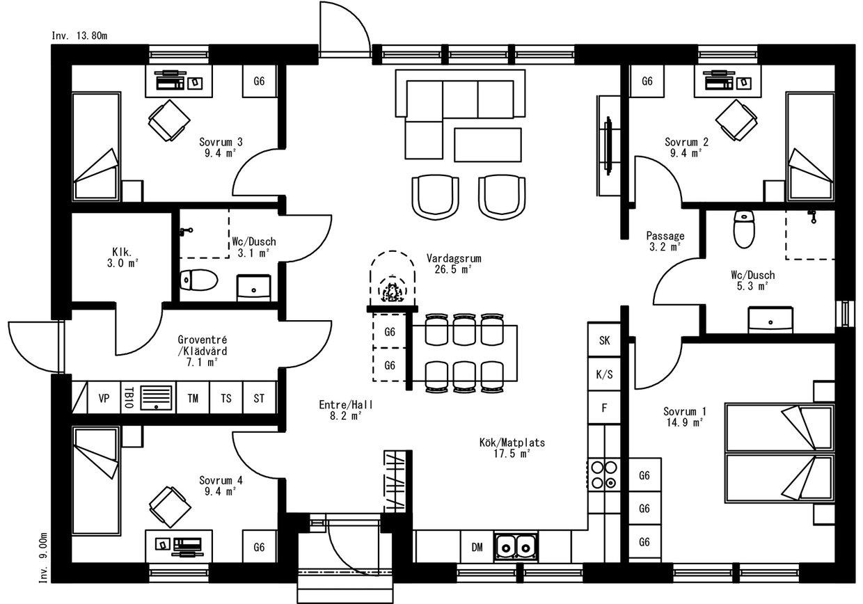 Planritning för Villa Svedje