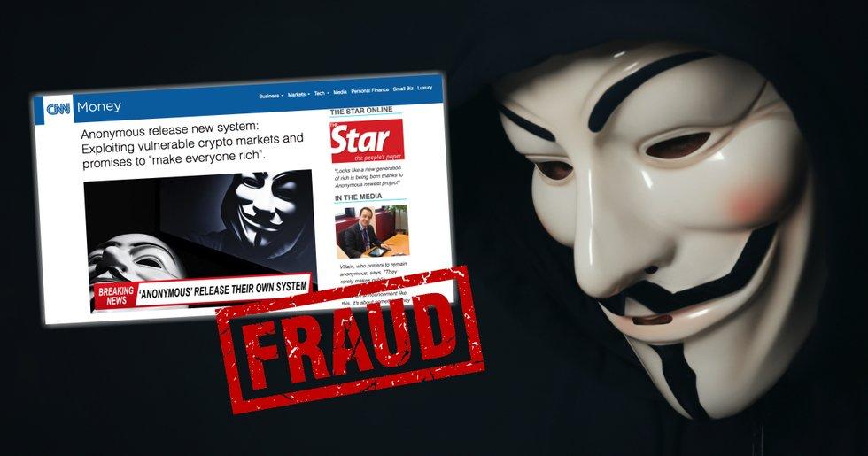 Kryptobedragarnas nya drag – utnyttjar hackergruppen Anonymous namn.