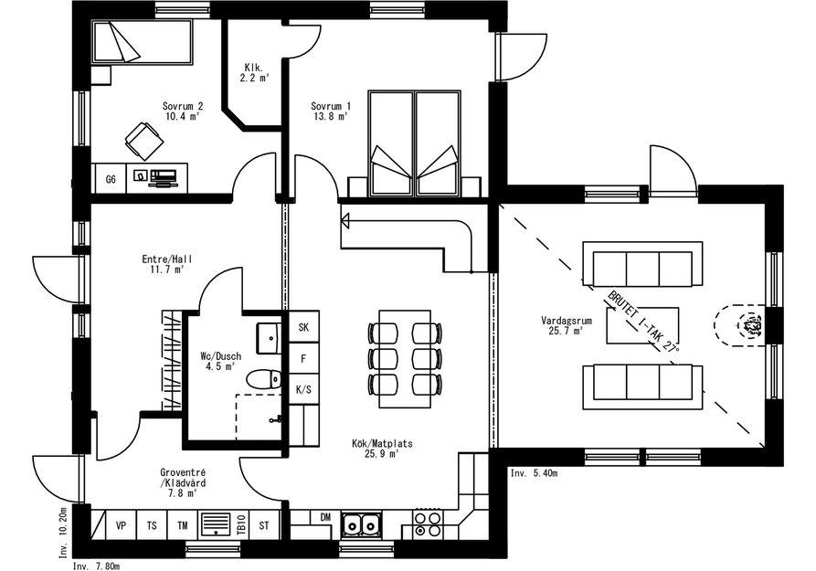 Planritning för Villa Utansjö