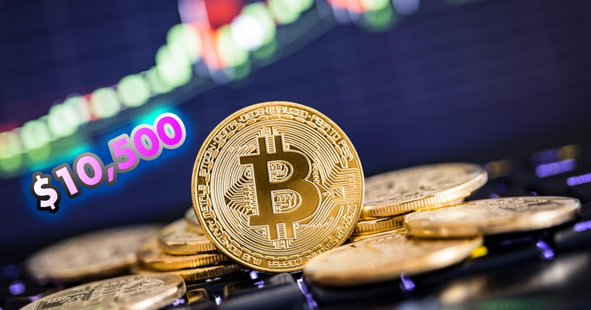 Bitcoin når 10 500 dollar – ökade 1 000 dollar på 30 minuter