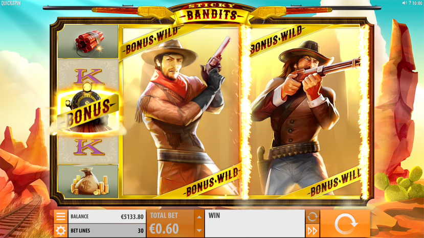 """Quickspin """"Sticky Bandits""""  This 30-pay line slot game has a Western theme. This game sees you join in on a train heist. With the warm glow of a sunset booming in the background, there are special features for you to tap. Massive wilds are also available that stretch out over numerous symbols and act as Bonus symbols.  Additionally, there is a free spins round, which comes with sticky wilds."""