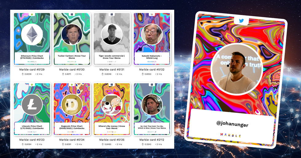 Marblecards turns internet links into unique collectible cards – on the ethereum blockchain.