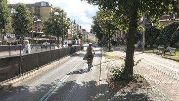 Cykelbanan återställd på Linnégatan