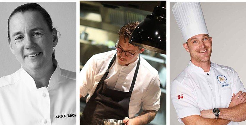 Anna Broms, Hugo Bolt-Hansen och Martin Moses är<br />  tre av kockarna i Årets Kocks startfält. Foto: Pressbilder