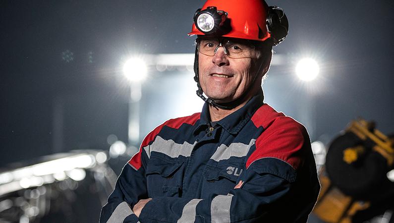 Mike Lowther, LKAB, är ansvarig för testgruvan Konsuln där SUM-tekniken testas och utvecklas. Foto: Fredric Alm.