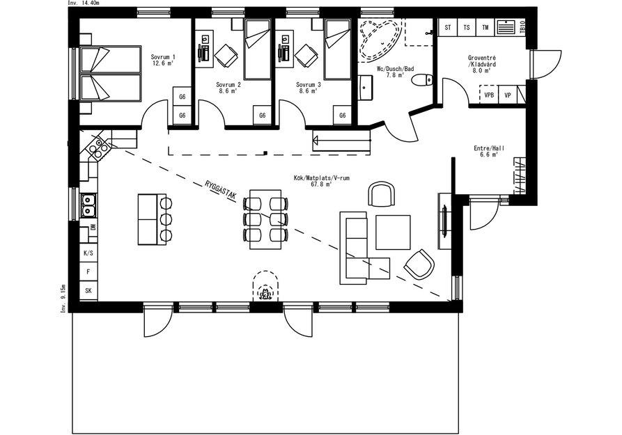 Planritning för Villa Kallbäcken