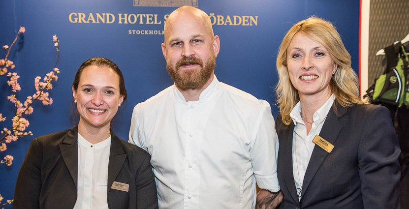 Grand Hotel Saltsjöbadens Lorena Matusevicius, Group & event manager, Fredrik Malmstedt, Food and beverage manager, och Charlotte Mangborg, Operations manager.