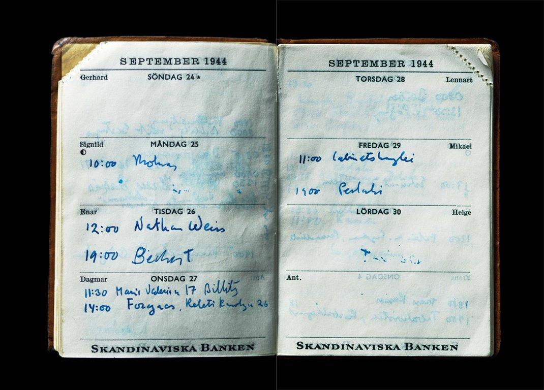 Ett uppslag ur Raoul Wallenbergs almanacka från 1945. Nathan Weiss var Dina Rajs farfar.
