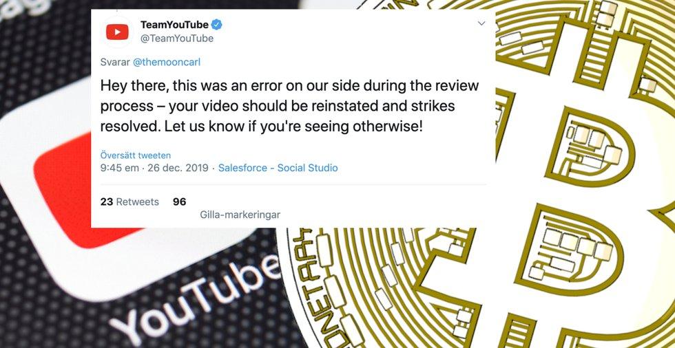 Youtube erkänner – var ett misstag att radera kryptoinnehållet