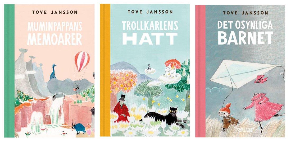 Några av Tove Janssons älskade muminböcker som kom ut första gången 1968, 1948 och 1962. (Bild: Förlaget M)