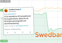 Swedish bank accused of laundering billions stops customers from buying crypto – to