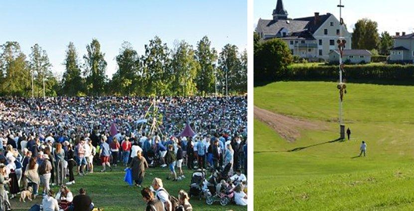 Midsommarfirandet i Gropen i Leksand lockar vanligtvis 25000 – 30 0000 gäster. I år uteblir firandet.