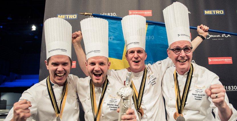 Svenska silverteamet: Tommy Myllymäki, Sebastian Gibrand, Gustav Leonhardt och Henrik Norström. Foto: Emil Andersson