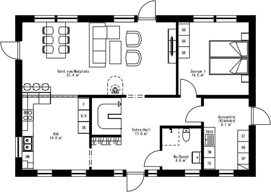 Planritning för Villa Holmö