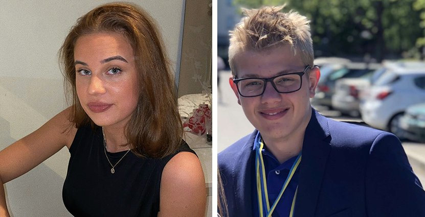 Hotell- och turismstudenterna Alva Ullstrand och Joel Granath, 18, är inte oroliga över att inte få jobb. Foto: Privat
