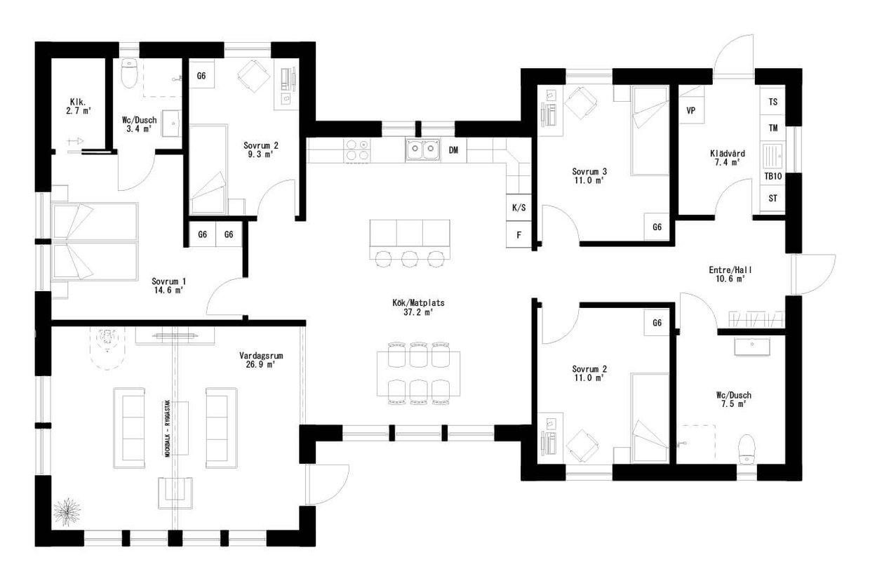 Planritning för Villa Skogsbacken