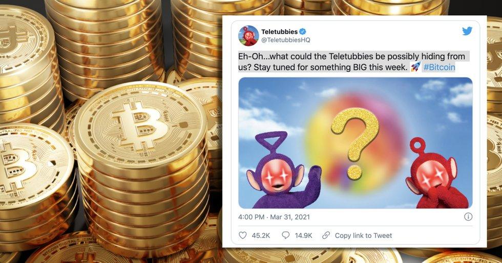 Teletubbies officiella Twitter-konto lägger upp mystiskt bitcoinmeddelande