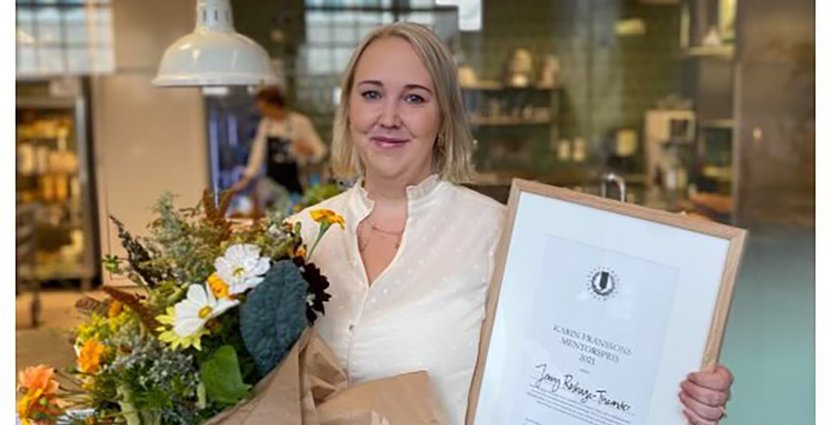 Jenny Roshage-Theander, restaurangchef på Näsby slott, har tilldelats Karin Franssons mentorpris. FOTO: Vanja Vilbern/Årets kock.