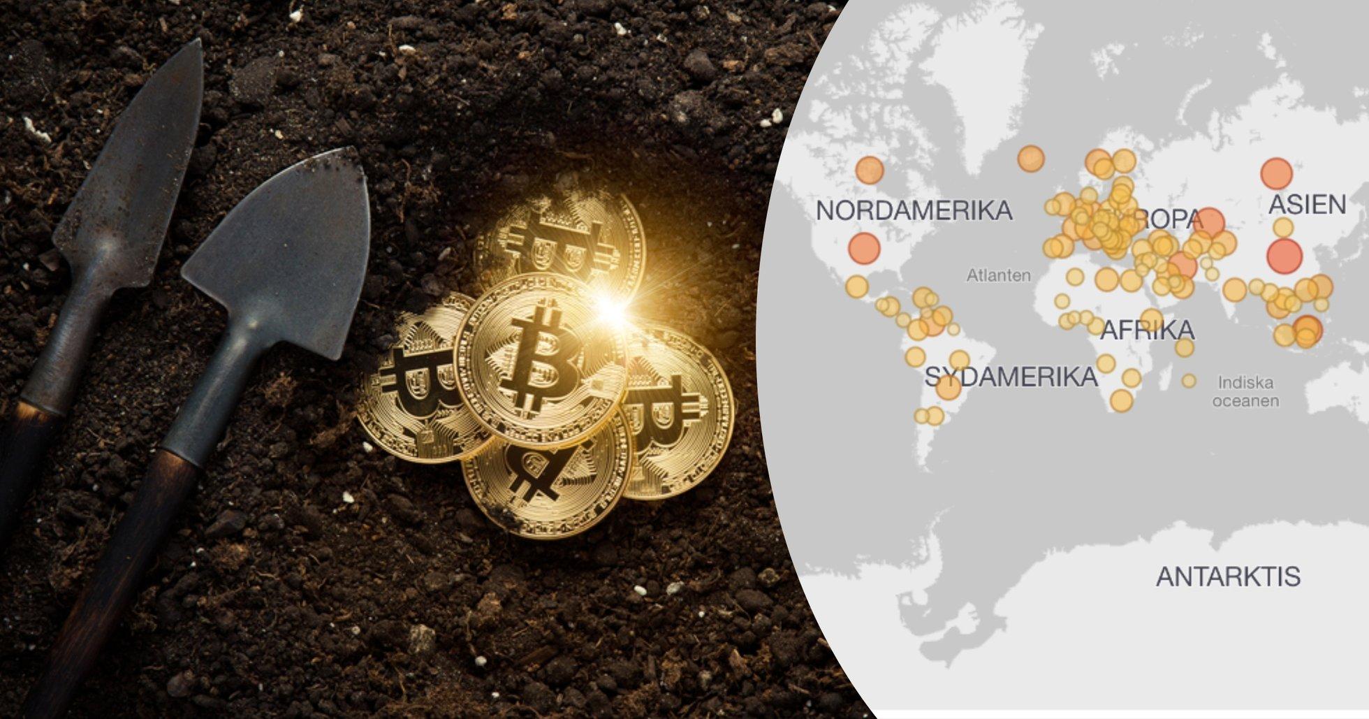 Karta visar: En region i Kina står för 35 procent av all datorkraft som används för bitcoinmining