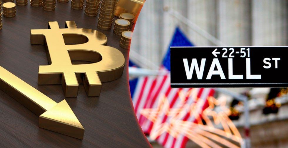 Bitcoinpriset sjönk till sin lägsta nivå på två veckor – i tandem med världens aktiemarknader