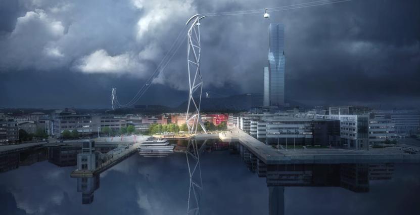 Det vinnande förslaget i tävlingen för design av linbanan. Illustration: UNStudio och Kjellgren Kaminsky