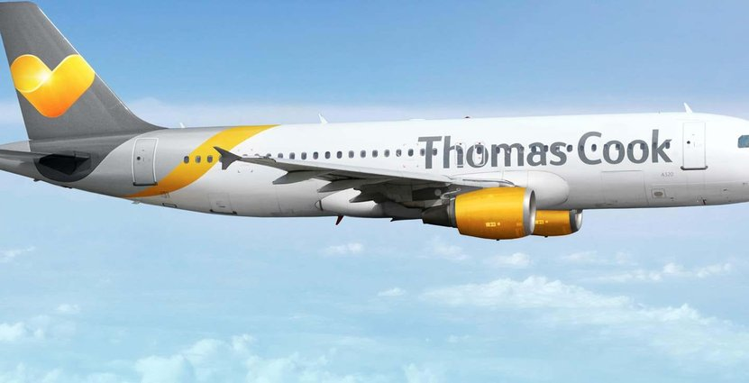 Ett av de ca 100 flygplanen Thomas Cook webblats