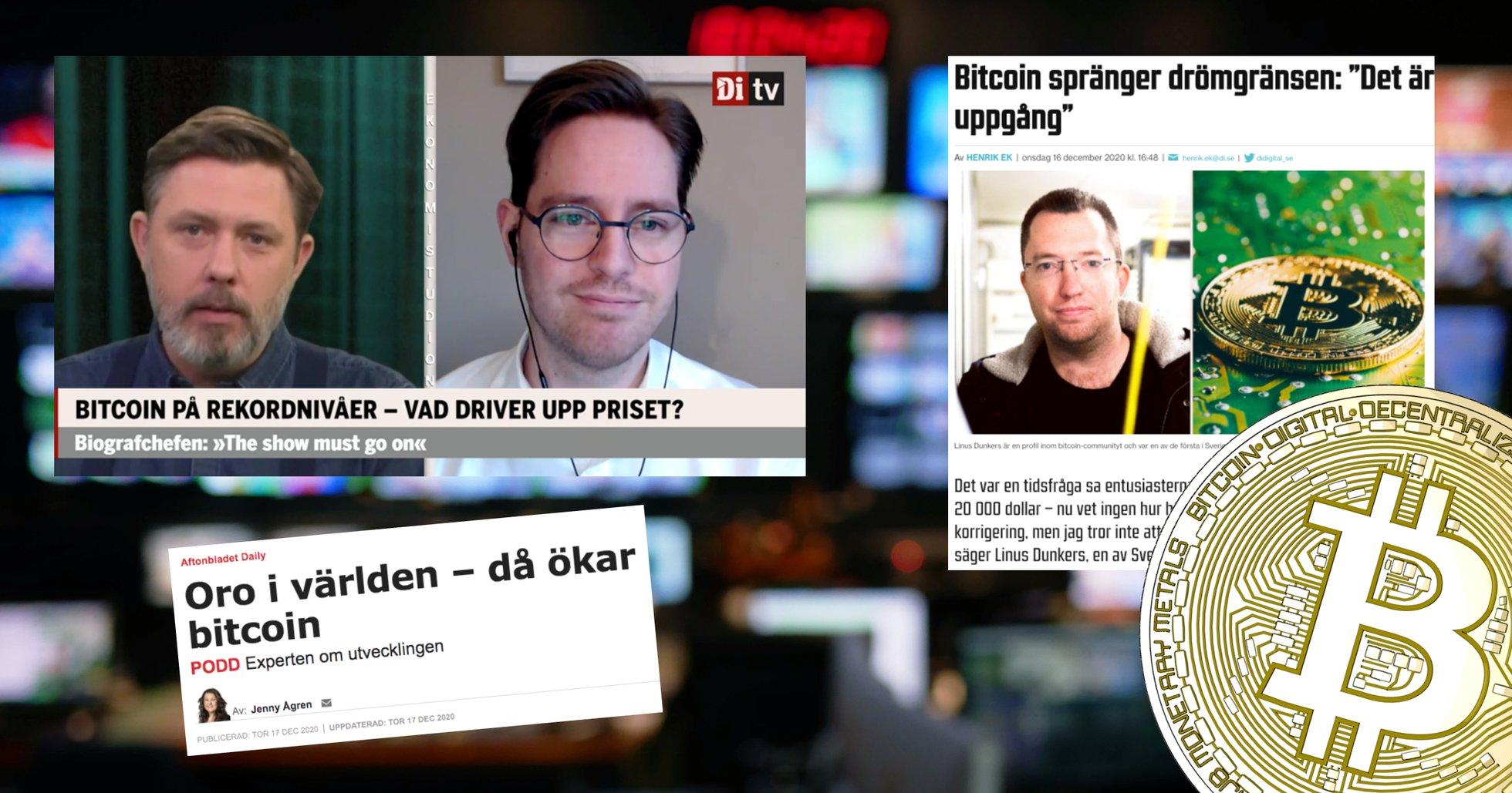 Bitcoinpriset rusar – då rapporterar svenska medier om kryptovalutans framfart.