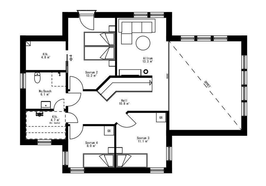 Planritning för Villa Djupdalen