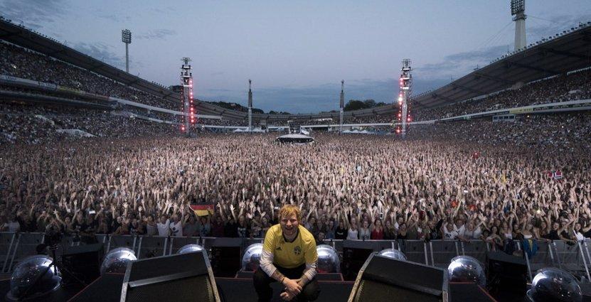 Ed Sheerans båda konserter på Ullevi hade en turistandel på över 80 procent med turistekonomiska effekter på nästan 300 miljoner kronor. Foto: Zakary Walters/Got Event