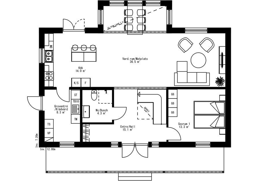 Planritning för Villa Mosjön