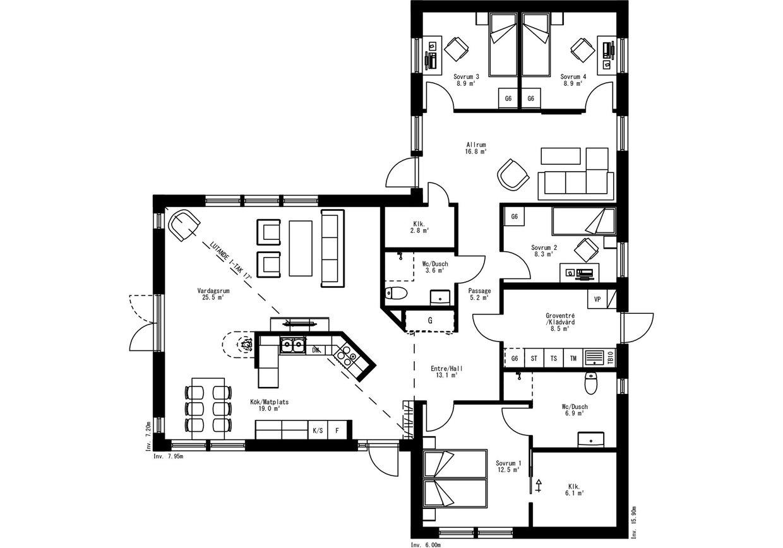 Planritning för Villa Sundsta