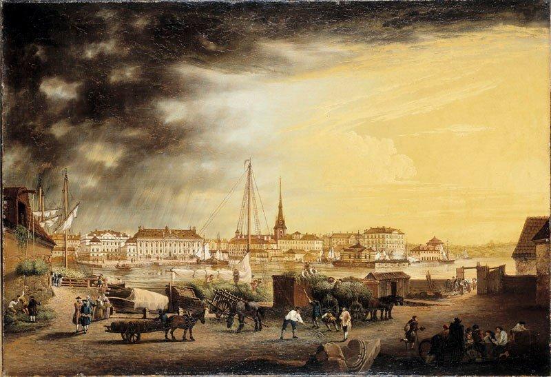 tsikt från Röda bodarna Rådhuset (Bondeska palatset), Riddarhuset och Riddarholmen. Olja på duk. Konstnär: Johan Svedenbom, 1768.