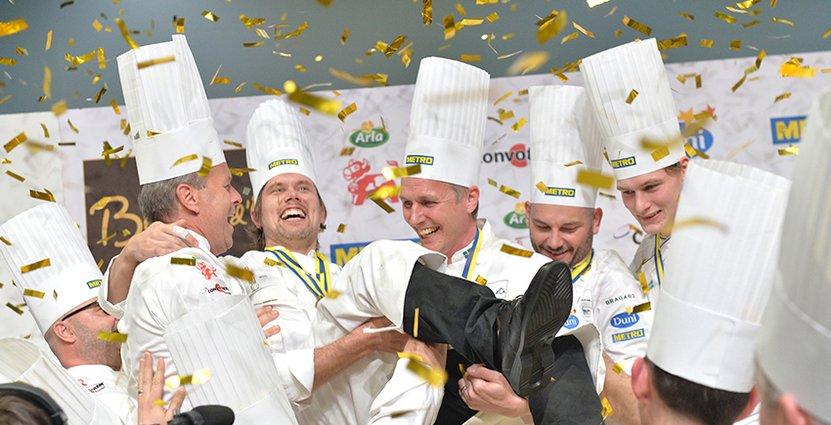 Vann på hemmaplan. År 2014 kammade Tommy Myllymäki hem guldet i Bocuse d'Or Europa.  Foto: Pressbild Gastronomi Sverige