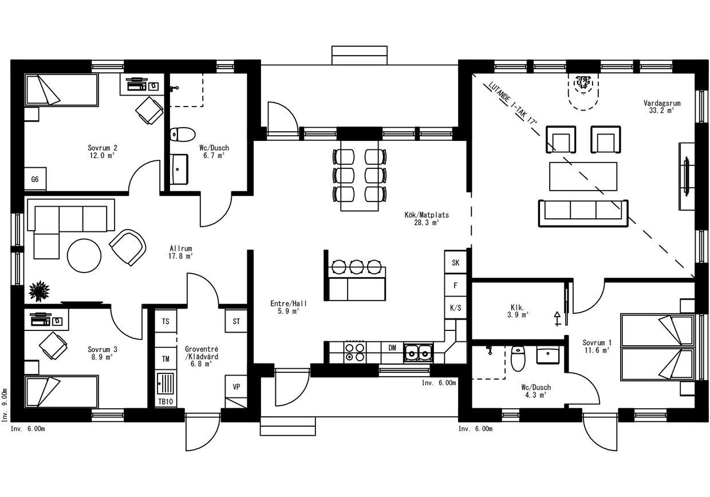Planritning för Villa Vålånger