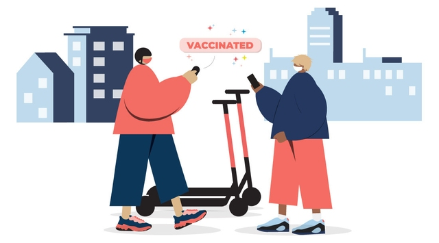 illustration of Voi riders standing beside two e-scooters, on their way to get vaccinated