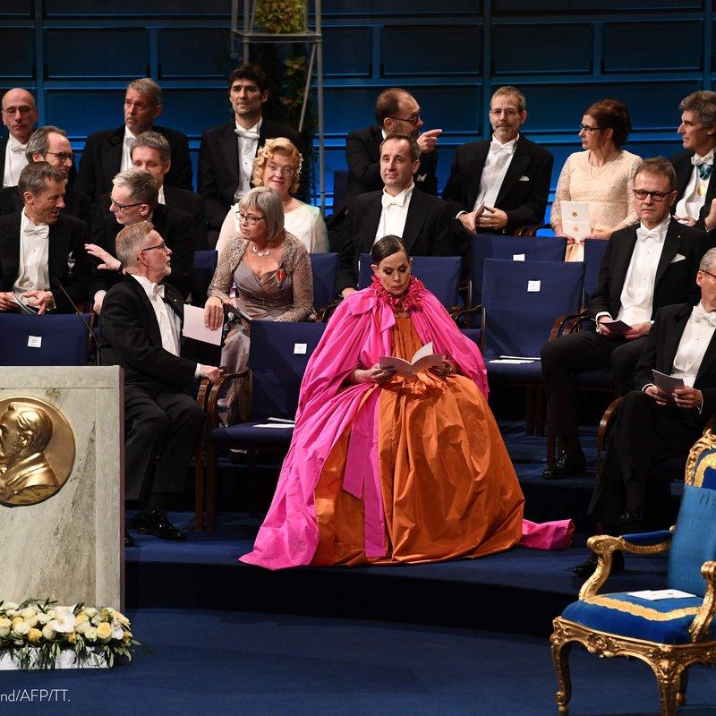 Sara Danius hade en klänning på Nobelfesten