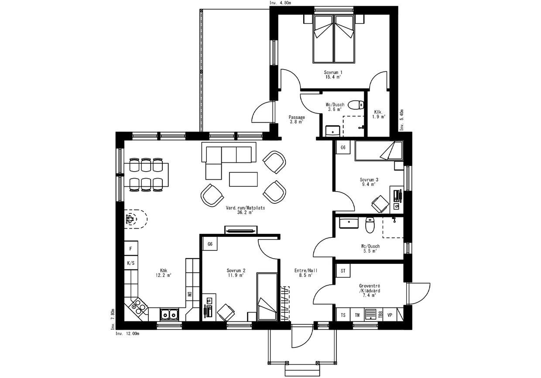 Planritning för Villa Murberget