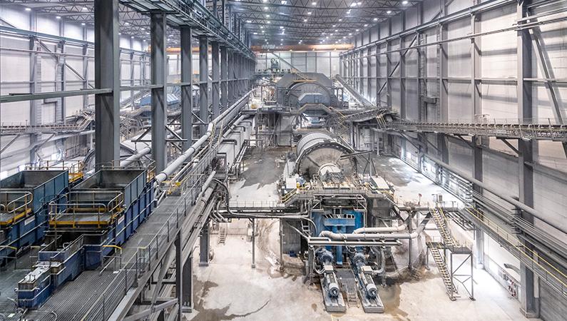 Anrikningsverket vid koppardagbrottet i Aitik är världens mest effektiva.