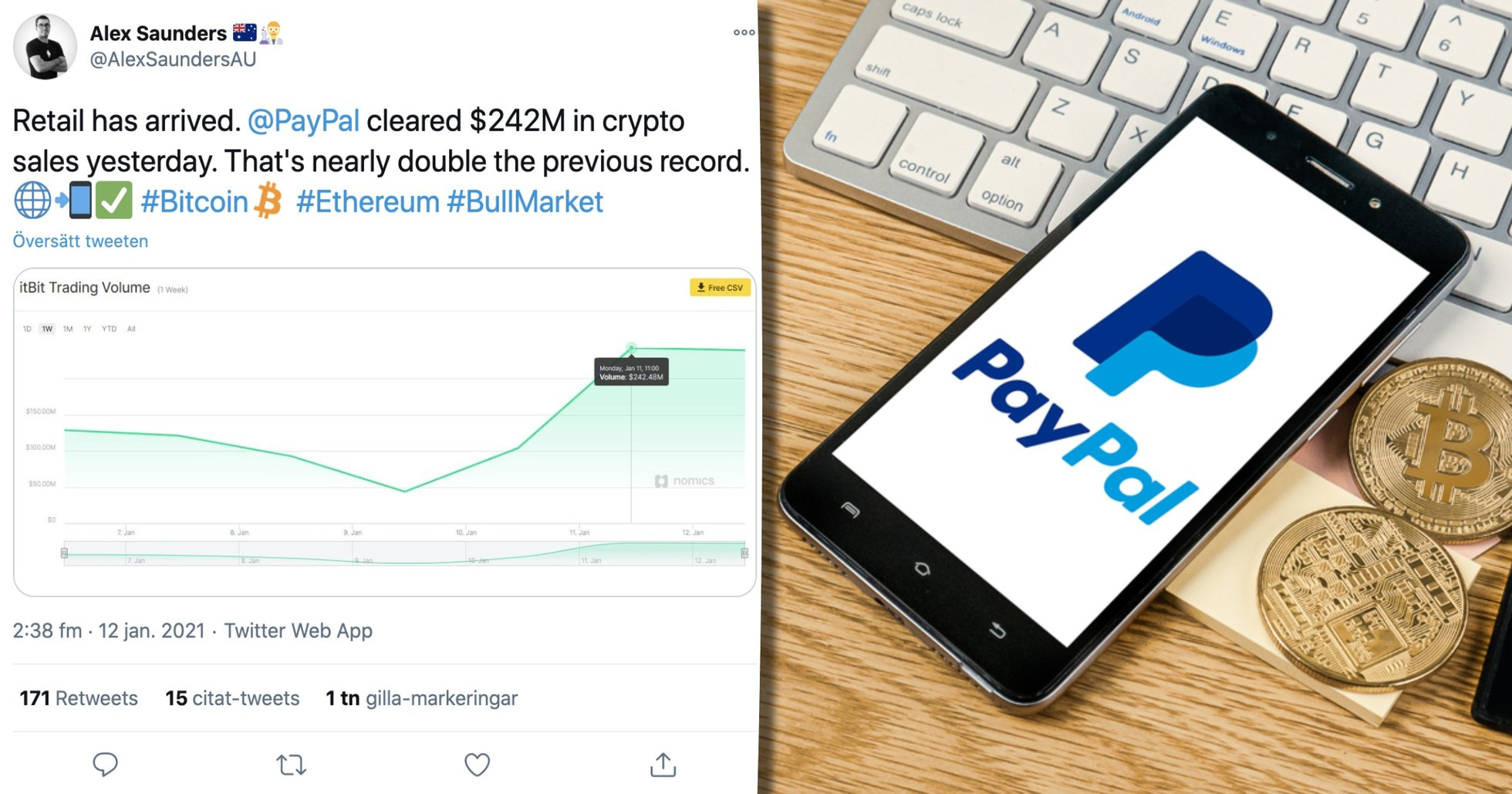 New volume record for crypto trading on Paypal - here's what it may mean