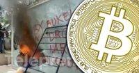 Demonstranter i El Salvador bränner upp en bitcoinbankomat