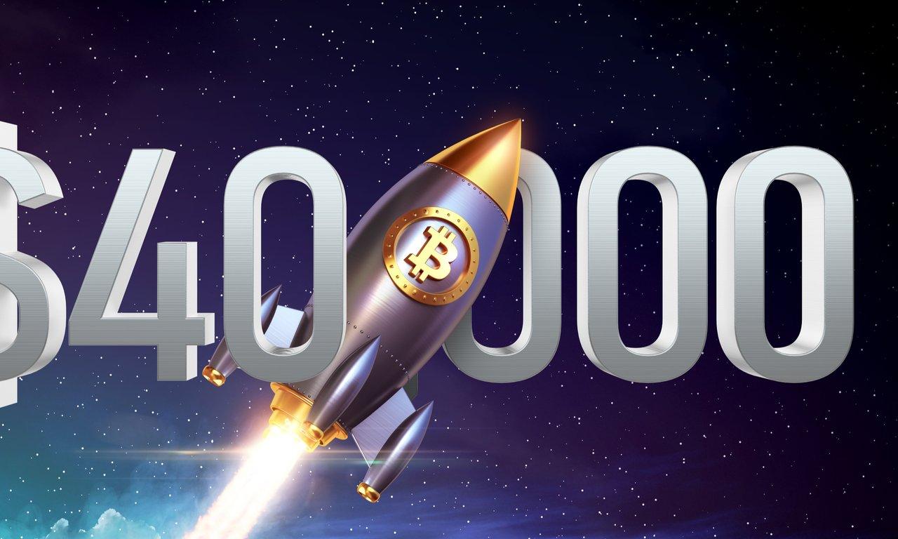 Bitcoinpriset når ännu en milstolpe – rusar över 40 000 dollar.