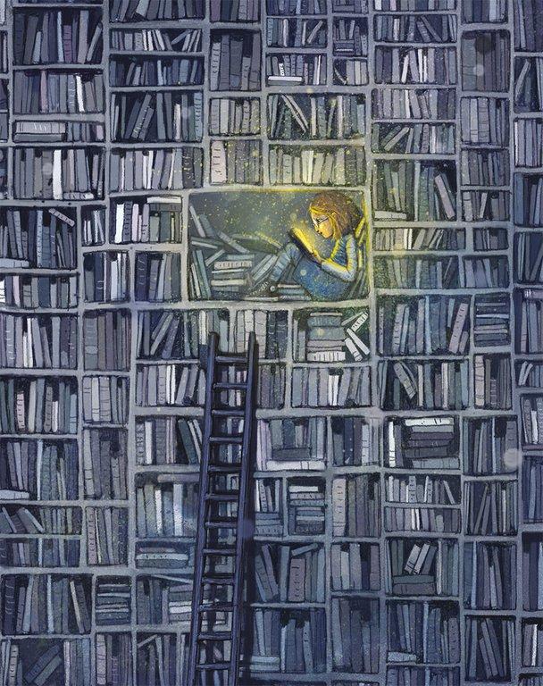 Ur <i>Flickan som ville rädda böckerna </i>av Klaus Hagerup och Lisa Aisato