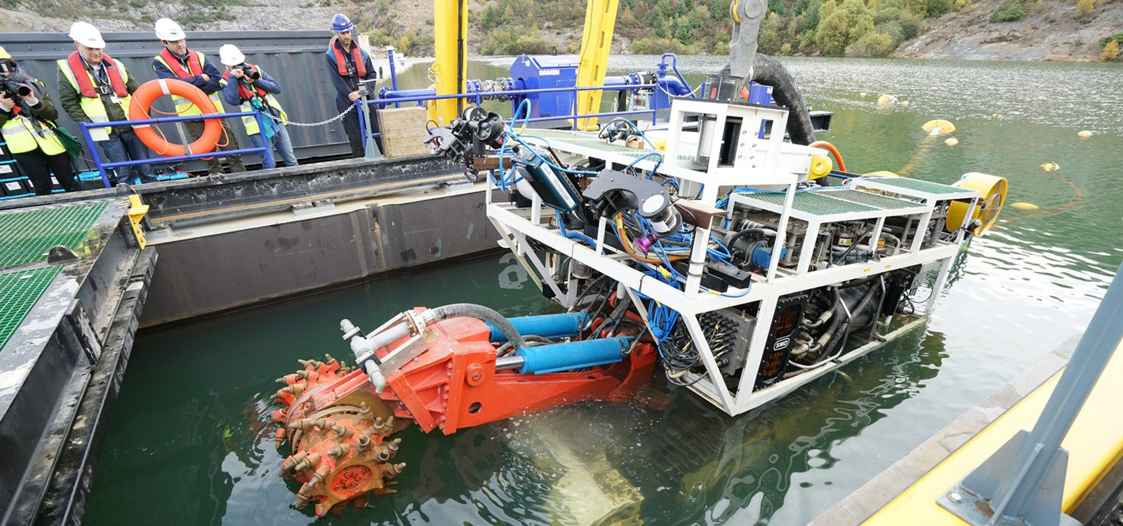 The launch and recovery vessel (LARV), lowers the mining vehicle through the water to the mine floor, after which the vehicle can be positioned to begin cutting.