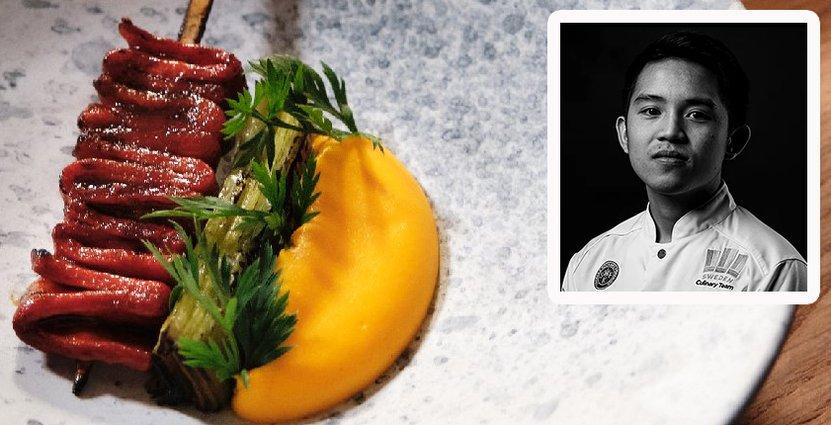 Jerome Ianmark Calayag, 25, ska tävla i världsfinalen i San Pellegrino Young Chef Award. FOTO: Pressbild