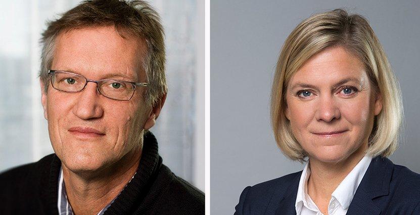 Statsepidemiolog Anders Tegnell och finansminister Magdalena Andersson deltar på Visitadagen.  FOTO: Kristian Pohl/Regeringskansliet/Lena Katarina Johansson