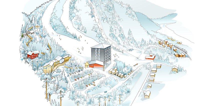 Nära Sydbacken i Järvsö ska de nya hotellägenheterna byggas. Lägenheterna har ännu inte hunnit ritas in, men de ska byggas snett ner till höger från det höga Bergshotellet, på den gröna ytan där det syns en U-formad stig.