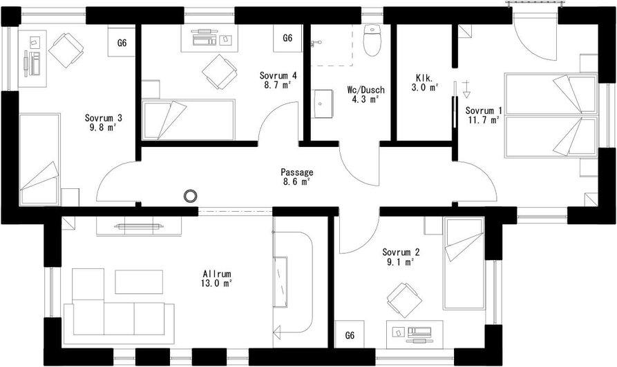 Planritning för Villa Alnön