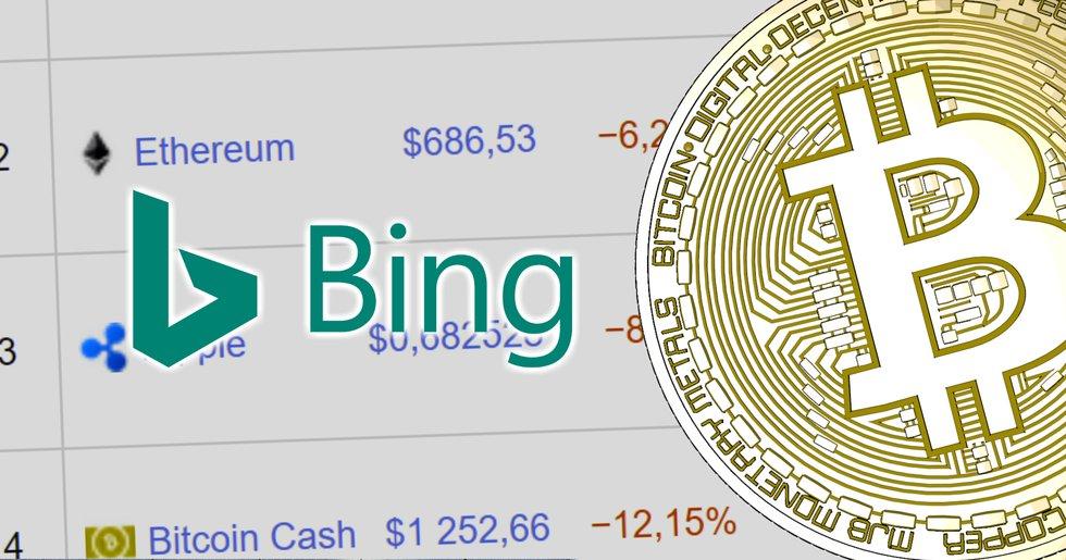 Sökmotorn Bing förbjuder annonser för kryptovalutor.